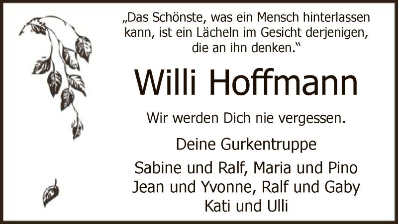 Traueranzeige für Willi Hoffmann vom 12.06.2021 aus WA