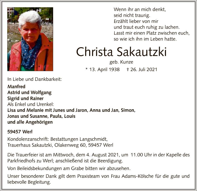 Traueranzeige für Christa Sakautzki vom 29.07.2021 aus WA