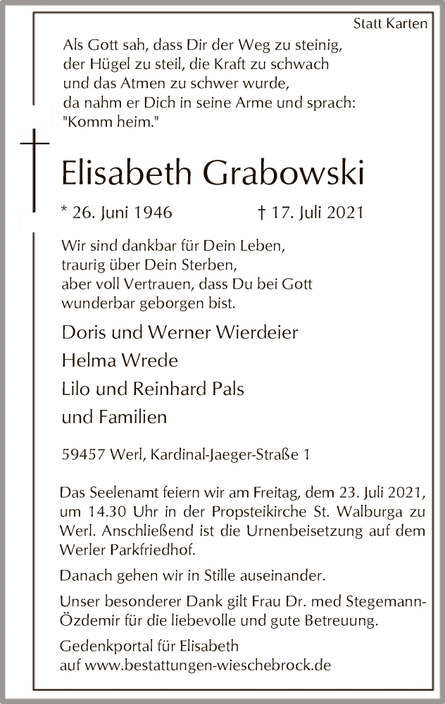 Traueranzeige für Elisabeth Grabowski vom 20.07.2021 aus WA