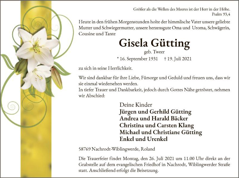 Traueranzeige für Gisela Gütting vom 21.07.2021 aus WA