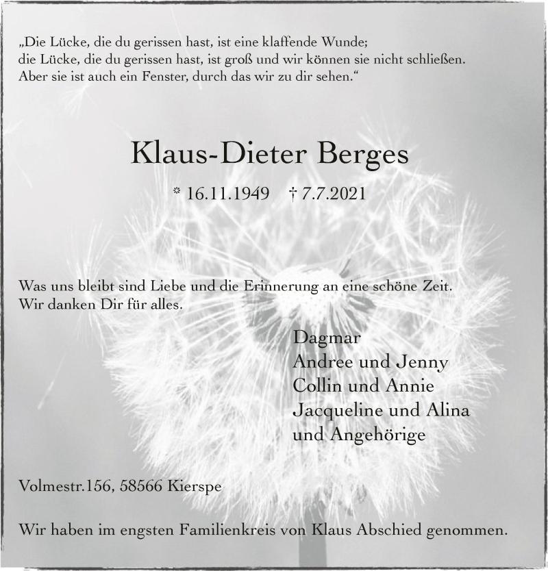 Traueranzeige für Klaus-Dieter Berges vom 20.07.2021 aus WA