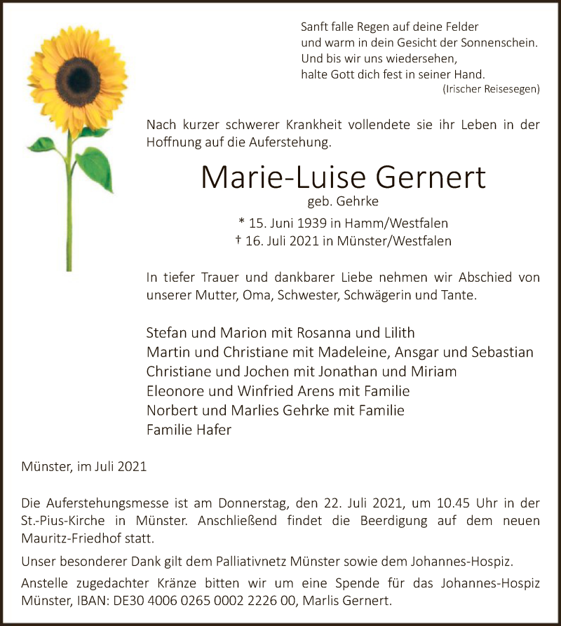 Traueranzeige für Marie-Luise Gernert vom 21.07.2021 aus WA
