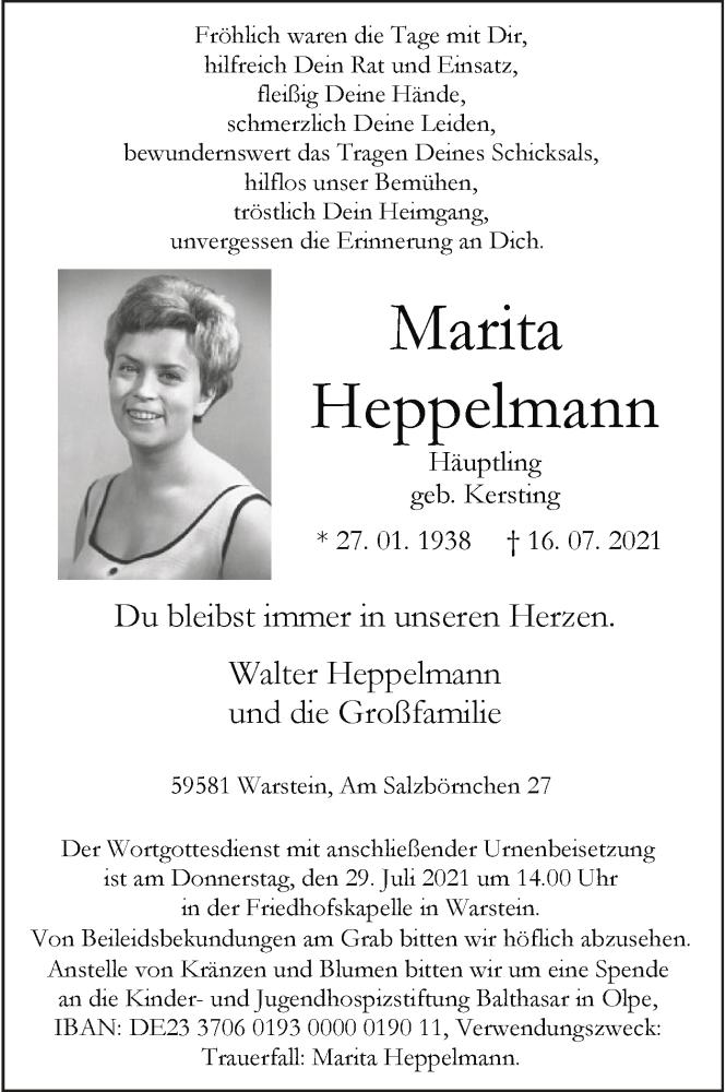 Traueranzeige für Marita Heppelmann vom 21.07.2021 aus WA