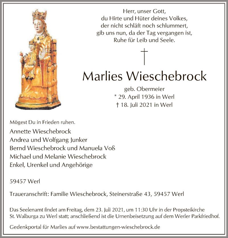 Traueranzeige für Marlies Wieschebrock vom 20.07.2021 aus WA