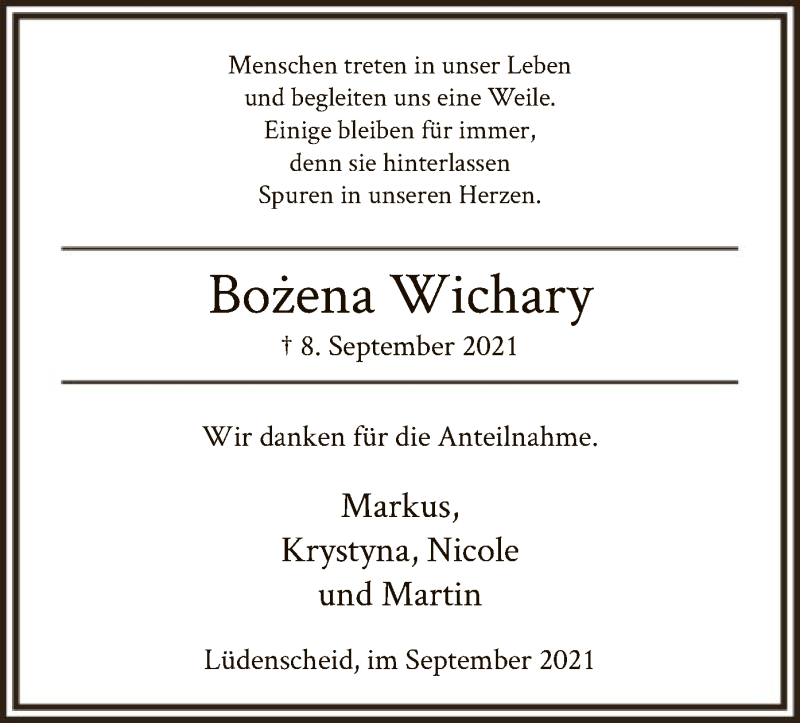 Traueranzeige für Bozena Wichary vom 15.09.2021 aus WA