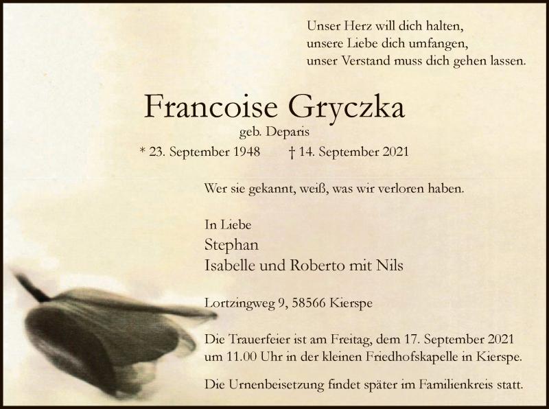 Traueranzeige für Francoise Gryczka vom 15.09.2021 aus WA