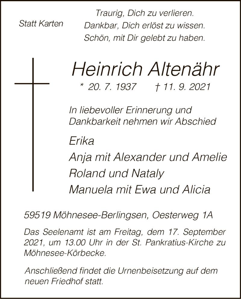 Traueranzeige für Heinrich Altenähr vom 14.09.2021 aus WA