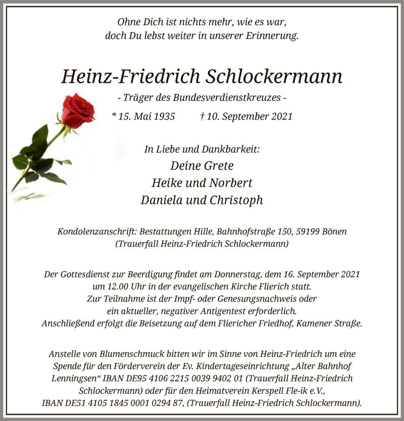 Traueranzeige für Heinz-Friedrich Schlockermann vom 15.09.2021 aus WA