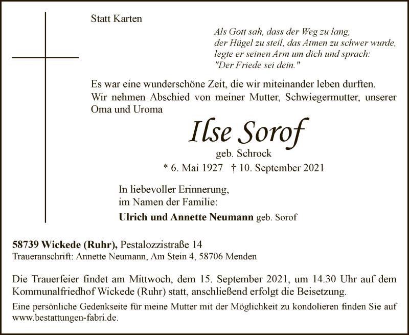 Traueranzeige für Ilse Sorof vom 14.09.2021 aus WA