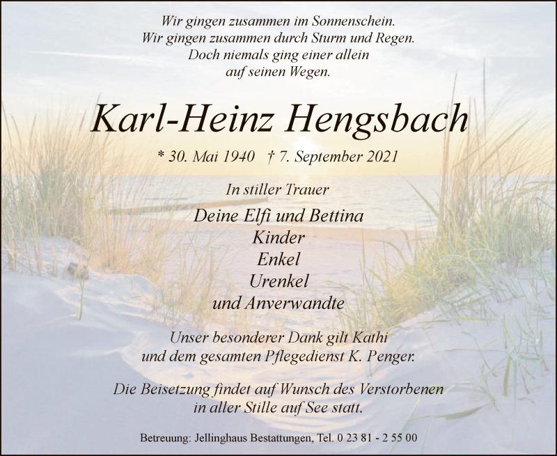 Traueranzeige für Karl-Heinz Hengsbach vom 11.09.2021 aus WA