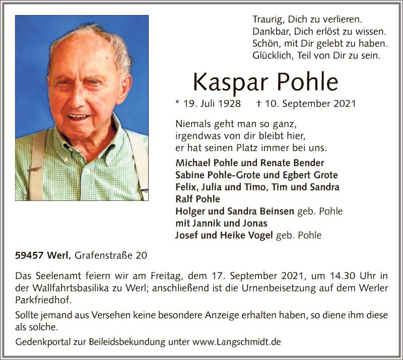 Traueranzeige für Kaspar Pohle vom 14.09.2021 aus WA