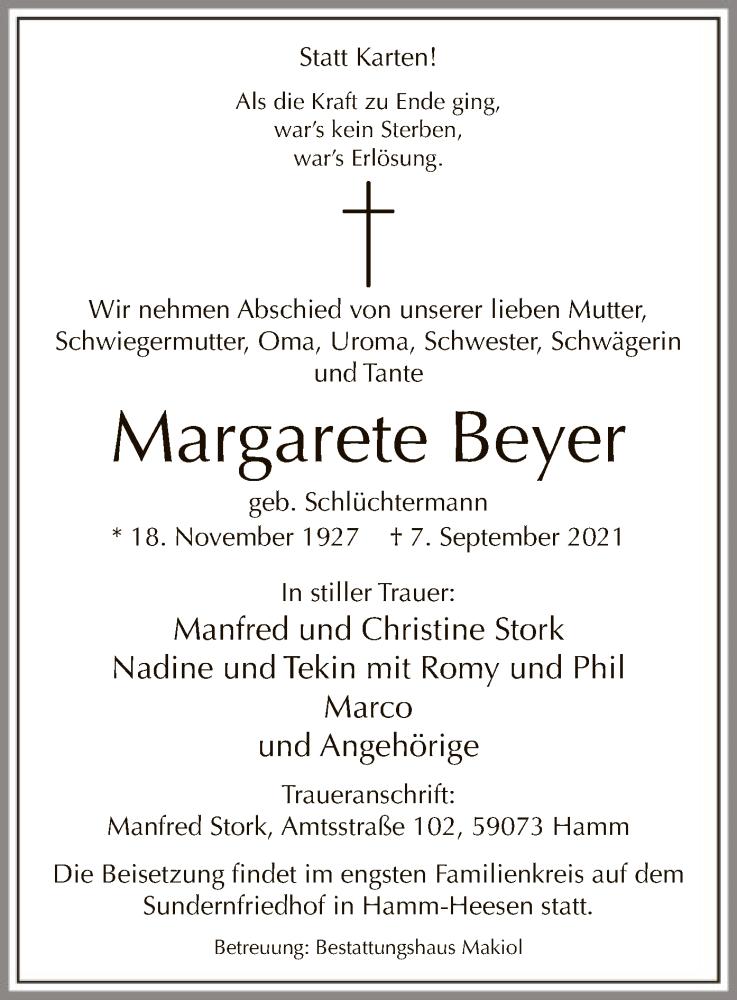 Traueranzeige für Margarete Beyer vom 11.09.2021 aus WA