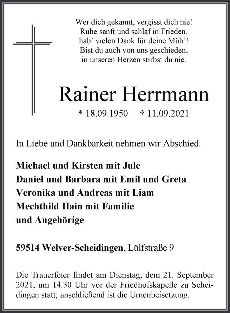 Traueranzeige für Rainer Herrmann vom 15.09.2021 aus WA