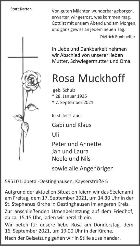 Traueranzeige für Rosa Muckhoff vom 11.09.2021 aus WA